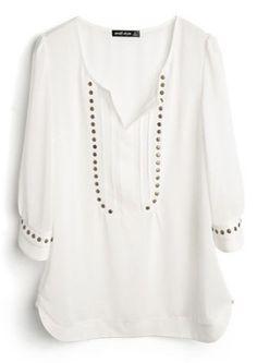#SheInside White V Neck Half Sleeve Studded Chiffon Shirt