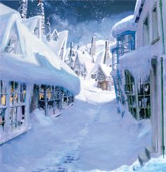 Hogsmeade™ snow scene in Diagon Alley™ (Painting)   Harry Potter & Hogwarts: Prints Pictures & Posters  Collectibles