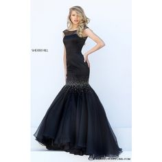 Sherri Hill 50392 Black Cap Sleeve Mermaid Prom Dress ($260) via Polyvore featuring dresses, sherri hill, short cap sleeve prom dress, sherri hill dresses, cocktail prom dress and cap sleeve short dress