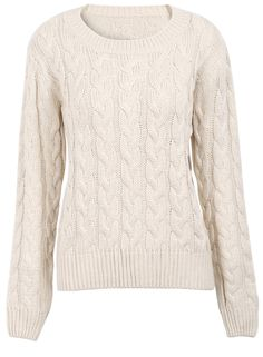 Apricot Round Neck Cable Knitting Simple Sweater US$31.15