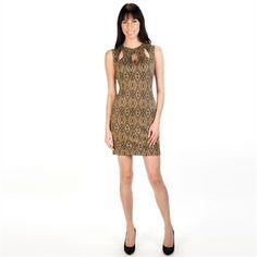 Bailey Blue Juniors Geometric Scuba Dress with Cutout Neckline