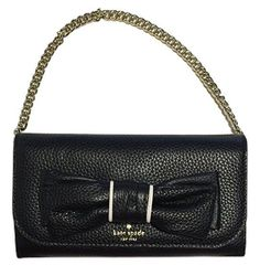 "Kate Spade NWT ""Milou"" Rosewood Place Black Bow Purse Chain Wallet Retail $199. #katespade #Clutch"