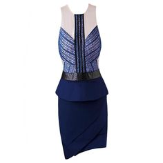 Herve Leger Deep Blue Asymmetry Halter Sexy Dress MX237DB