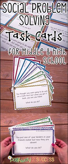 """Use these social scenarios and situations task cards to help middle and high school kids learn how to solve real problems! These are ideal for kids who struggle with making good decisions or get """"stuck"""" in their thinking. So helpful for kids with autism, ADHD, and other social challenges."""