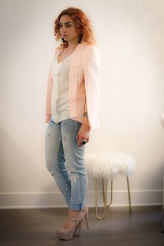 Pink slit cape blazer, ruffle shirt with Steve Madden suede Mary Jane shoes and boyfriend jeans. Great women's fashion outfit style that can also be paired with pants, a dress or skirt