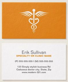 Modern Stylish Orange Medical Doctor Caduceus Business Card