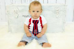 I so want this!!!!Nautical Sailor Themed Tie Onesie with red suspenders NB- 24M- Baby Boy Clothing Red White & Navy. $28.99, via Etsy.