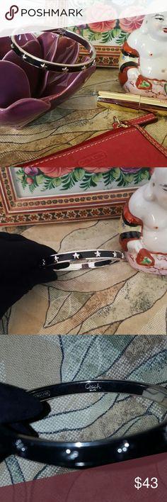 Coach Bracelet Enamel Black with Silver Stars Coach enaEmel Bracelet with Stars in Silver and Black... Comes with Pouch Coach Jewelry Bracelets