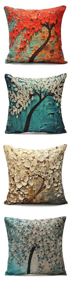 $4.99 Flower Cotton Linen Pillow Case Waist Back Throw Cushion Cover Home Sofa Decor