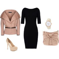 Black dress and salmon jacket with oversize collar