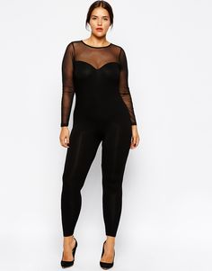 ASOS CURVE Exclusive Body fit Jumpsuit With Mesh Sweetheart