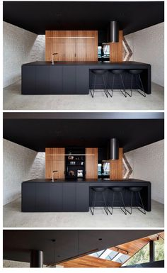 """former """"workers cottage"""" was transformed into an updated livable space This modern kitchen features a black island and ceiling, and wood cabinets.This modern kitchen features a black island and ceiling, and wood cabinets. Küchen Design, Design Case, House Design, Design Ideas, Modern Design, Design Patterns, Design Trends, Blog Design, Black Kitchens"""