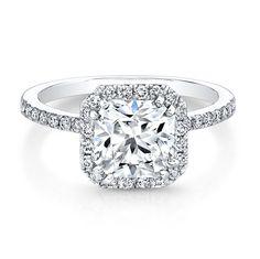 18K White Gold Square Halo Bezel-Set Diamond Accent Engagement Ring  - FM26933-18W
