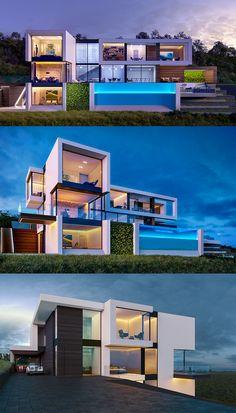 Luxury, dream and most expensive villa. Modern Minecraft Houses, Minecraft Mansion, Minecraft Architecture, Modern Architecture House, Architecture Interiors, Villa Minecraft, Big Modern Houses, Modern Interiors, Minecraft House Tutorials