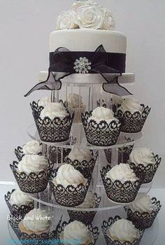 Black and white formal cupcake tower