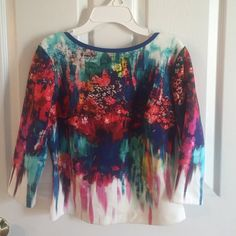 "Bisou Bisou ""drippy floral"" top sz medium NWT polyester /spandex top sz medium low neckline in the back beautiful bright colors Bisou Bisou Tops"