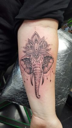 My new tattoo. Elephant lotus xx