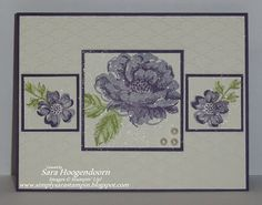 handmade card from Simply Sara Stampin': RHSSC - Stippled Blossoms ...white with wisteria and purple ...  layout with big square and two smaller ones at the sides ... luv the shimmer over the three flower panels ... Stampin' Up!