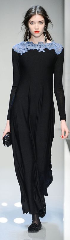 Roccobarocco RTW F/W 2013-2014- a way to soften the harshness of black, a little blue near the face.