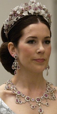 Mary Donaldson wears the Ruby Parure for the first time.