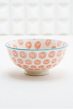 Japanese Floral Bowl in Coral