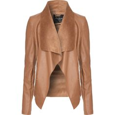 Jane Norman Tan PU Waterfall Jacket found on Polyvore