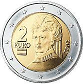 2€ / Austria - La moneda de 2€ está dedicada a la militante pacifista Bertha von Suttner, símbolo de los esfuerzos desplegados por Austria durante décadas para apoyar la causa de la paz. Grabado del canto (virola) de la moneda de 2€: «2 EURO***», repetido cuatro veces y orientado alternativamente de abajo arriba y de arriba abajo.