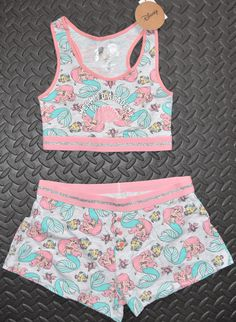 PRIMARK Disney Ariel The Little Mermaid Crop Vest & Shorts Set PJ PYJAMAS UK Sizes 4 - 20 NEW . **Note the vest top for this set is cropped with a racer bac