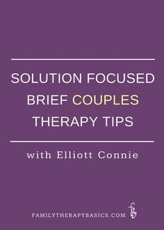 Elliott Connie is a Solution Focused Brief Therapy (SFBT) practitioner, author, and speaker. He developed an approach to couples work that distills the essence of SFBT into guiding principles for working with couples. As a therapist who loves workin Therapy Worksheets, Therapy Activities, Counseling Activities, Therapy Tools, Art Therapy, Solution Focused Therapy, Counseling Techniques, Mental Health Counseling, Family Therapy