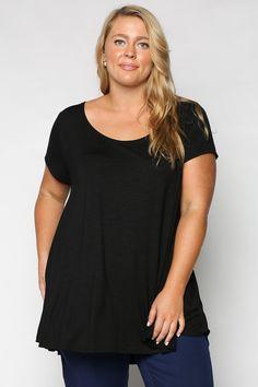 Adrift Women's, Plus Size, Swing Tee, Black, 95% Viscose 5% Spandex, A-line shape generous fit – Adrift Clothing