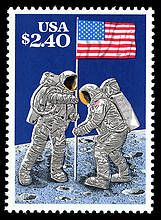 This 1989 stamp commemorated the 20th anniversary of the moon landing. But wait, Armstrong and Aldrin were alive at the time the stamp was issued and living individuals can't be portrayed on US stamps. The US Postal Service said the stamp commemorated the landing, not the people who were part of it. Philatelic controversy!