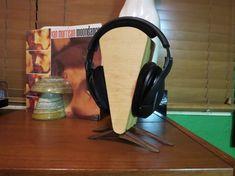 Spire  Maple and Walnut Minimalist Headphone Stand by DesignByWood