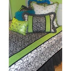 Girls Rule Duvet Cover - Black with Lime  Custom made bedding for girls and teens from Peace, Love and Decorating.