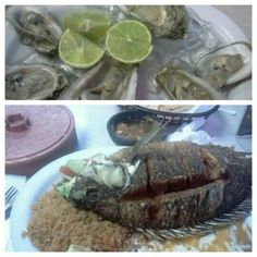 Tilapia Plate (Fish, Rice & ReFried Beans, Tortillas, Chips & Salsa) and 1/2 Dozen Oysters from El Puerto Escondido 24-hr Mexican Seafood Restaurant on S. Arbor Vitae (off the 405 fwy- by LAX) in Inglewood, California.