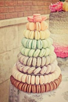 . Macaroon wedding cake tower .  Since Macarons don't use regular flour--only almond flour, this would be a great addition to the dessert buffet!