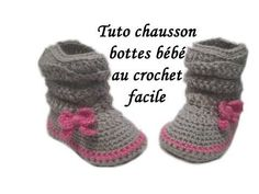TUTO CHAUSSONS BOTTES BEBE AU CROCHET easy crochet baby booties - YouTube