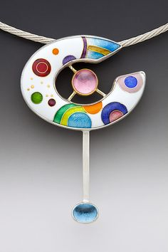 Saturn: Anna Tai: Enameled Necklace | www.artfulhome.com  <3<3<3THIS IS STUNNING - ABSOLUTELY BEAUTIFULLY & I ADORE THE PRETTY COLOURS USED ON THE WHITE (I WANT...sigh)<3<3<3 @