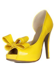 Image result for yellow pumps with bows