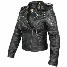da166e7f B932 Xelement Womens Classic Black Leather Rebel Stud motorcycle Jacket  #Xelement #Motorcycle #Outdoor