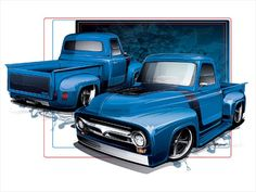 1954 Ford F100 Side Angle - Way cool rendering