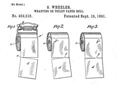 New attention shines on an old patent as social media revives the great over-or-under toilet paper debate. Toilet Paper Patent, Toilet Paper Origami, Toilet Paper Roll, Patent Drawing, Fun Facts, First Love, Rolls, Things To Sell, Funny