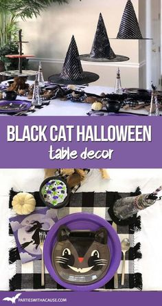 Dress up your Halloween table this year with a witch's black cat theme! Try these simple ideas for your own not-so-spooky table. Get all the great suggestions and Halloween decor sources at PartiesWithACause.com #blackcathalloweendecor #halloweentabledecor #halloweentablescape