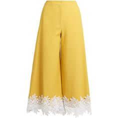 Sara Battaglia Macramé lace-trimmed twill culottes ($520) ❤ liked on Polyvore featuring pants, capris, trousers, yellow, highwaist pants, twill trousers, high-waist trousers, yellow pants and floral pants
