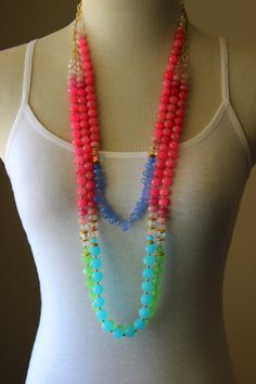 Pink green bead necklace jade crystal by StarsonMarsJewelryCo