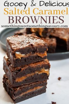 These Salted Caramel Brownies are the ultimate indulgent treat - dark, fudgy chocolate brownies with a salted caramel middle.heaven in every bite! Chocolate Caramel Brownies, Salted Caramel Brownies, Chocolate Desserts, Carmel Brownies, Chocolate Traybake, Gooey Brownies, Tray Bake Recipes, Baking Recipes, Cake Recipes