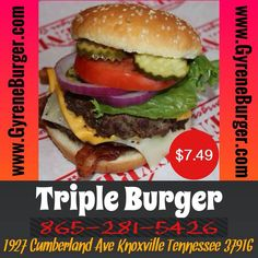 Triple Burger Three never-frozen 100% Angus patties with any toppings. Choose from Texas-smoked bacon, American or Swiss Cheese, Crispy lettuce, Florida-grown tomato, rich and creamy mayo, Heinz Ketchup, mustard, sauteed mushrooms, sliced jalapenos on a fresh sesame bun. ************************************************* Order Online Now ➡️    www.GyreneBurger.com  #burger #knoxville #burgers #fortsanders #tennessee #cumberland #Gyrene #LocalKnoxvilleEvent  #knoxvillebestburger…