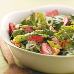 Strawberry Salad with Poppy Seed Dressing Recipe -My family really enjoys this refreshing salad. If strawberries aren't available, you can substitute mandarin oranges and dried cranberries. —Irene Keller, Kalamazoo, Michigan