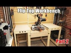Workbench with a Flip Top mitre saw station - all in one solution workbench PART 2 Miter Saw Table, Table Saw Workbench, Building A Workbench, Woodworking Workshop, Easy Woodworking Projects, Woodworking Bench, Wood Projects, Woodworking Shop, Workshop Storage