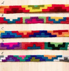 手工編織羊毛手繩 - 彩色小山 / 彩色階梯 / 彩色圖騰 ( 每款限量一件 ) - omhandmade | Pinkoi