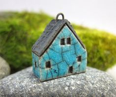 Crackled TURQUOISESaggar Fired Rustic House Pendant